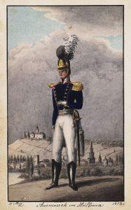 Лейтенант фон Мартенс перед выступлением из Хайльбронна, 1812. Акварельный автопортрет.